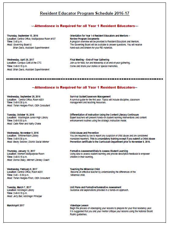 16-17 Resident Educator Meeting Dates